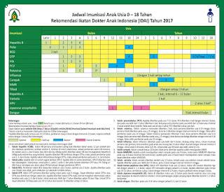 Jadwal imunisasi IDAI 2017