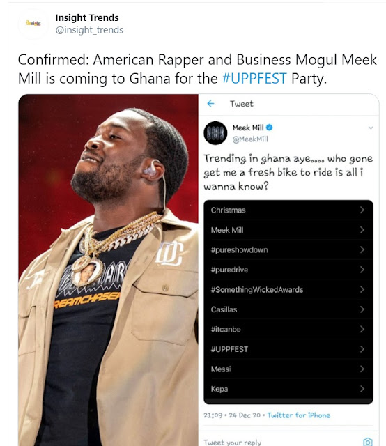 'Didn't Say That…Lol' - American Rapper, Meek Mill Reacts To Claims He's Coming To Ghana