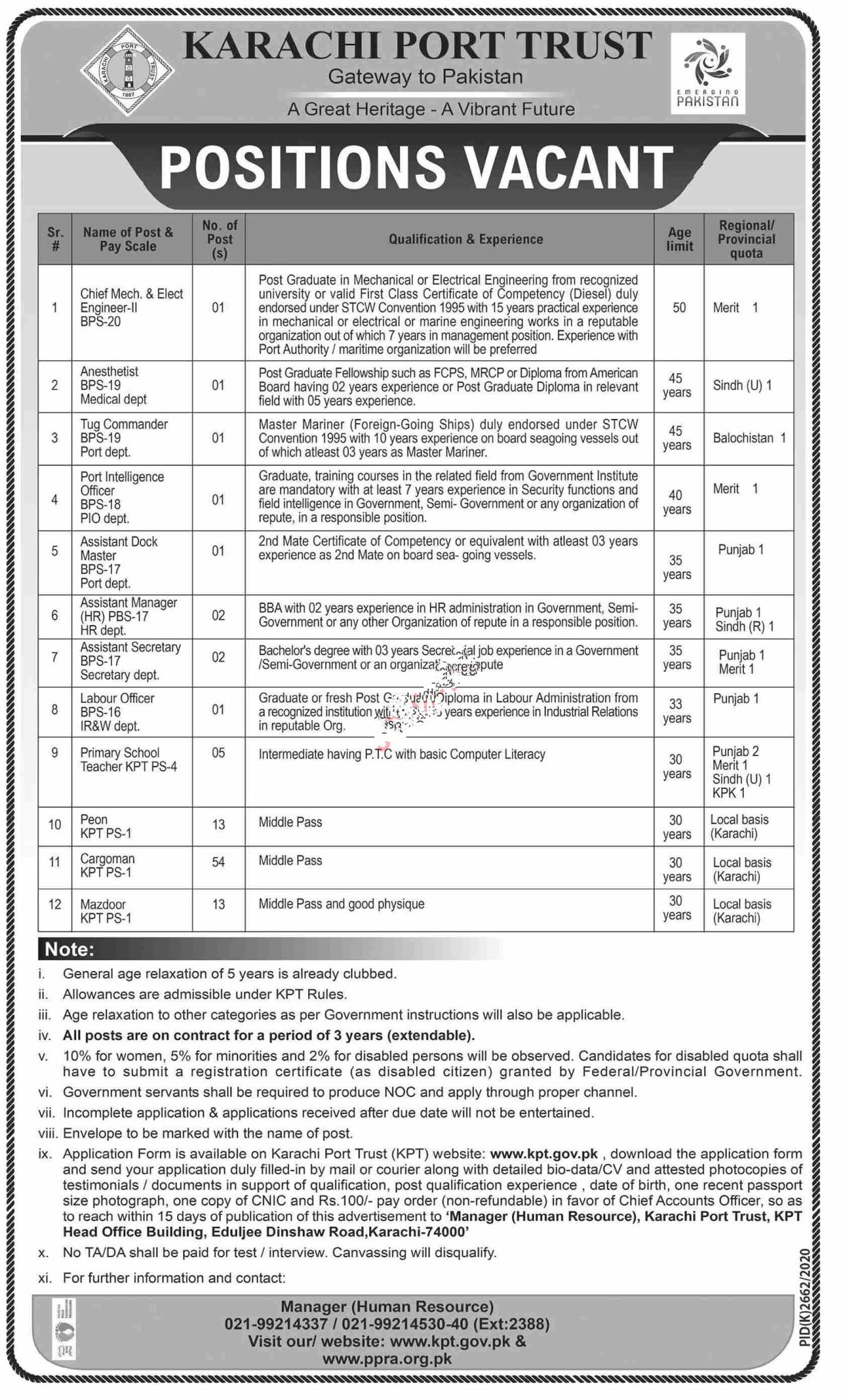 Karachi Port Trust KPT Karachi, Government of the Sindh Jobs 2021 For Tug Commander, Port Intelligence Officer, Assistant Dock Master, Assistant Manager, Assistant Manager HR, Assistant & more
