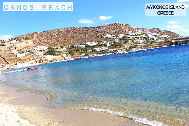 Ornos beach photos Mykonos island.Ornos plaza slike Mikonos ostrvo.