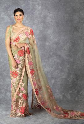 Manish Malhotra saree collection Olive Green tulle Saree