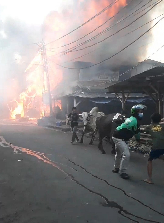 Daerah Padat Penduduk Pasar Kambing Tanah Abang Kebakaran,  Sekitaran Lokasi Kejadian Menjadi Macet
