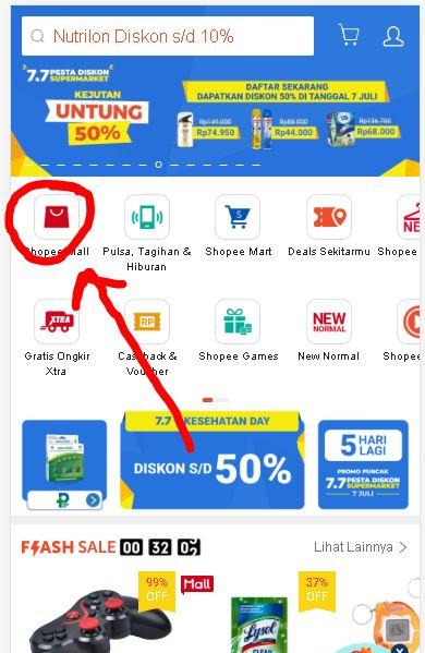 Klik Shopee Mall