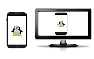 Smartphone e uma televisão, ambos com a imagem de um pinguim Tux mascote do Linux na tela