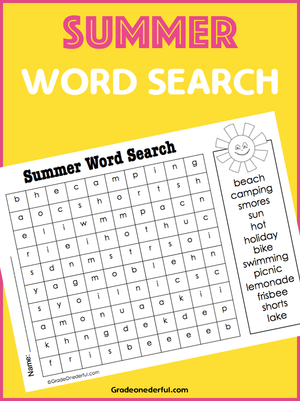 Free summer-theme word search for 6 to 8 year olds.