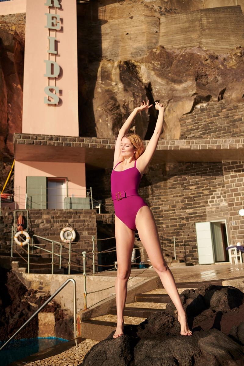 Eniko Mihalik poses in Eres swimsuit for KaDewe