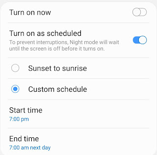Schedule dark mode on Android