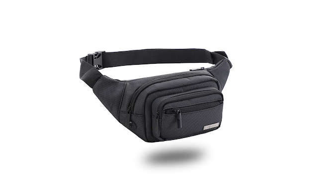 GoTrippin Waist Bag for Men,Women; Fanny Pack for Hiking Travel Camping Running Sports Outdoors; Polyester Money Belt with Adjustable Strap (Black)