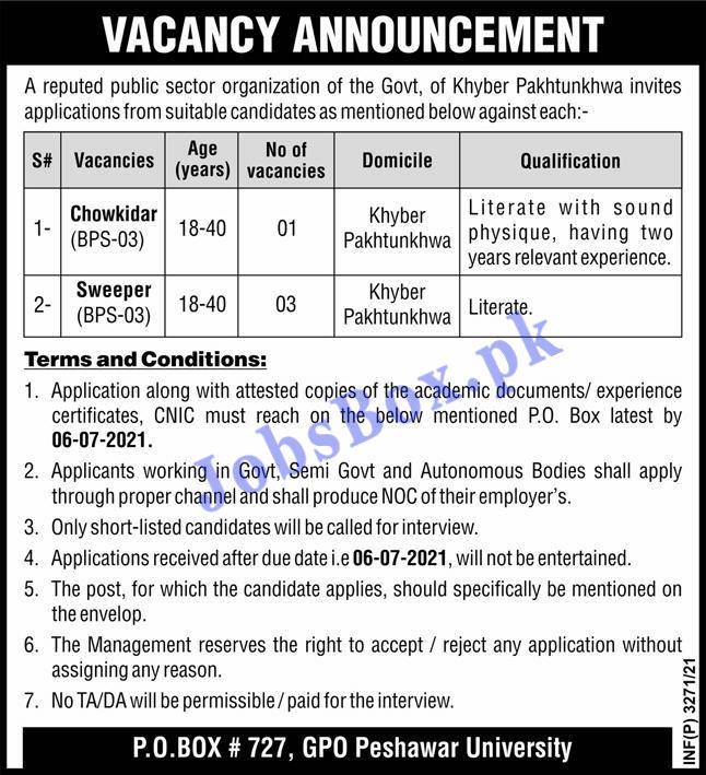 Public Sector Organization KPK Jobs 2021 – PO Box No 727 Jobs