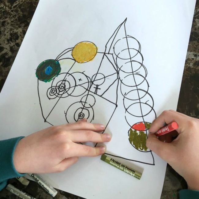 Kandinsky lines and circles- Exploring famous artists for kids.