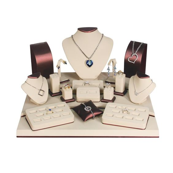 Brown & Beige Leatherette Jewelry Display 19-Piece Set