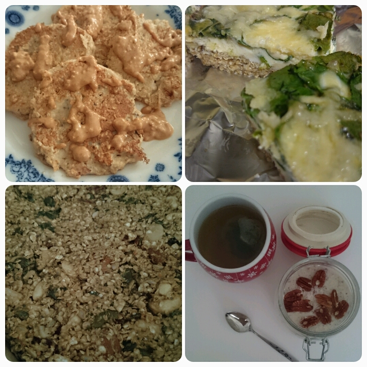 protein pancakes, quinoa egg bake, nutty seed bars