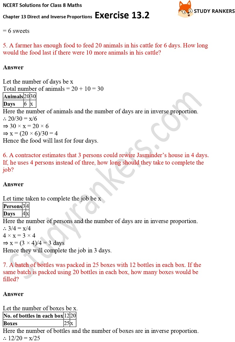 NCERT Solutions for Class 8 Maths Ch 13 Direct and Inverse Proportions Exercise 13.2 3