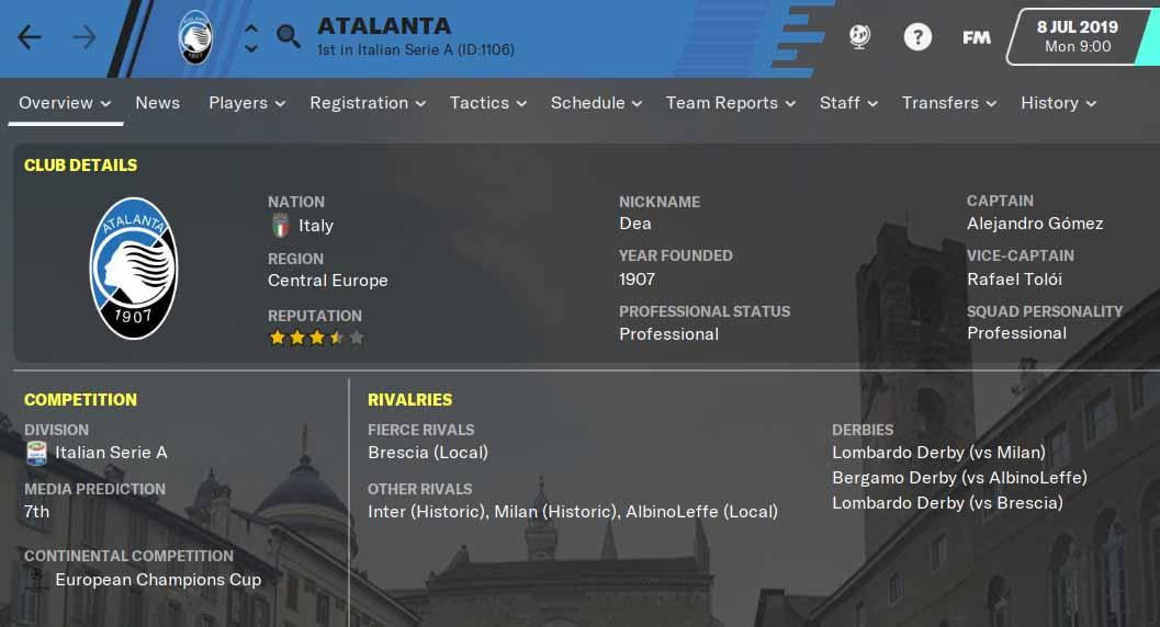 FM20 Team Guide - Atalanta