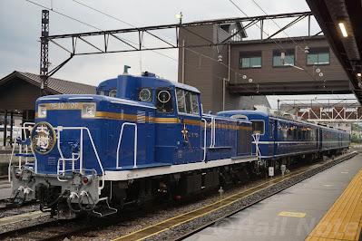 下今市駅の側線に留置されるDE10形と14系客車