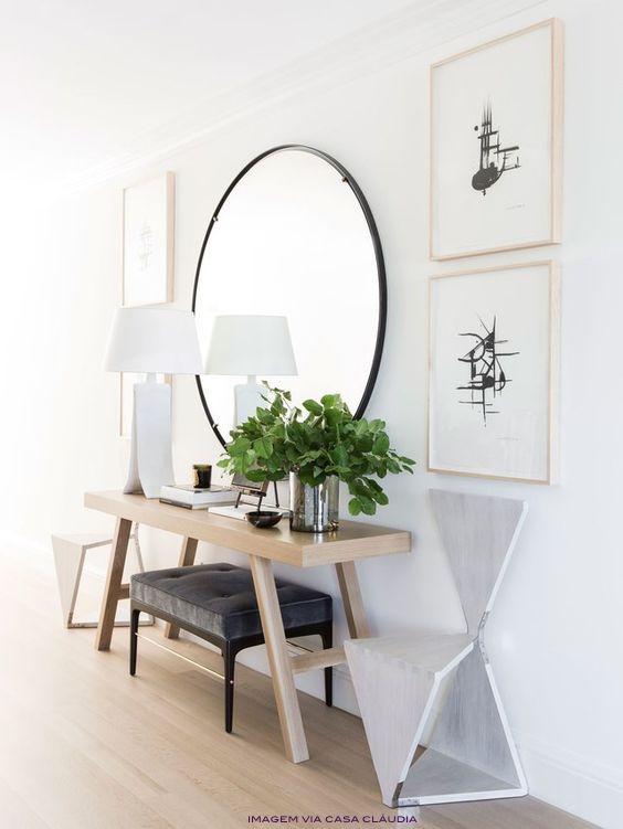 Aparador, banqueta e espelho oval