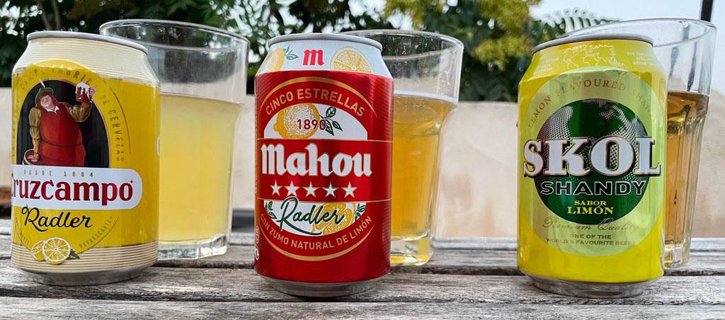 Cata comparativa de Radlers, Shandys y demás bebidas con base de cerveza y limón.