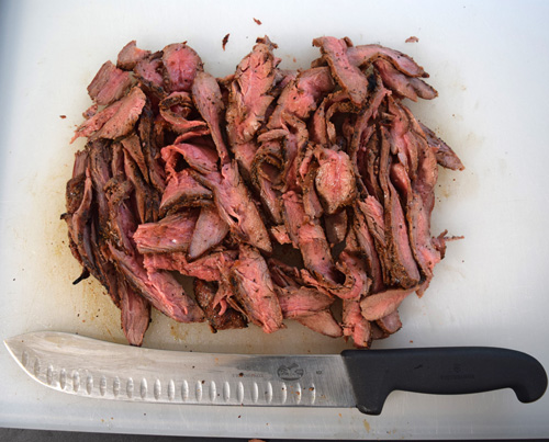 Thinly sliced Certified Angus Beef Brand flank steak.