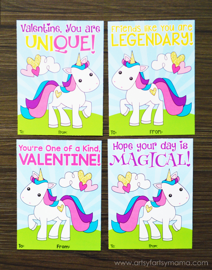 Free Printable Unicorn Valentines | artsy-fartsy mama