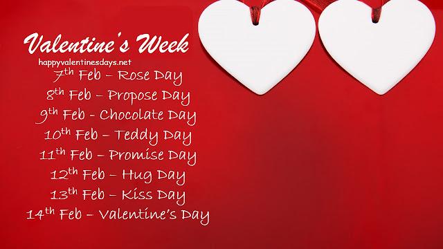 7 Feb to 21 Feb days list, valentine's day list 2021