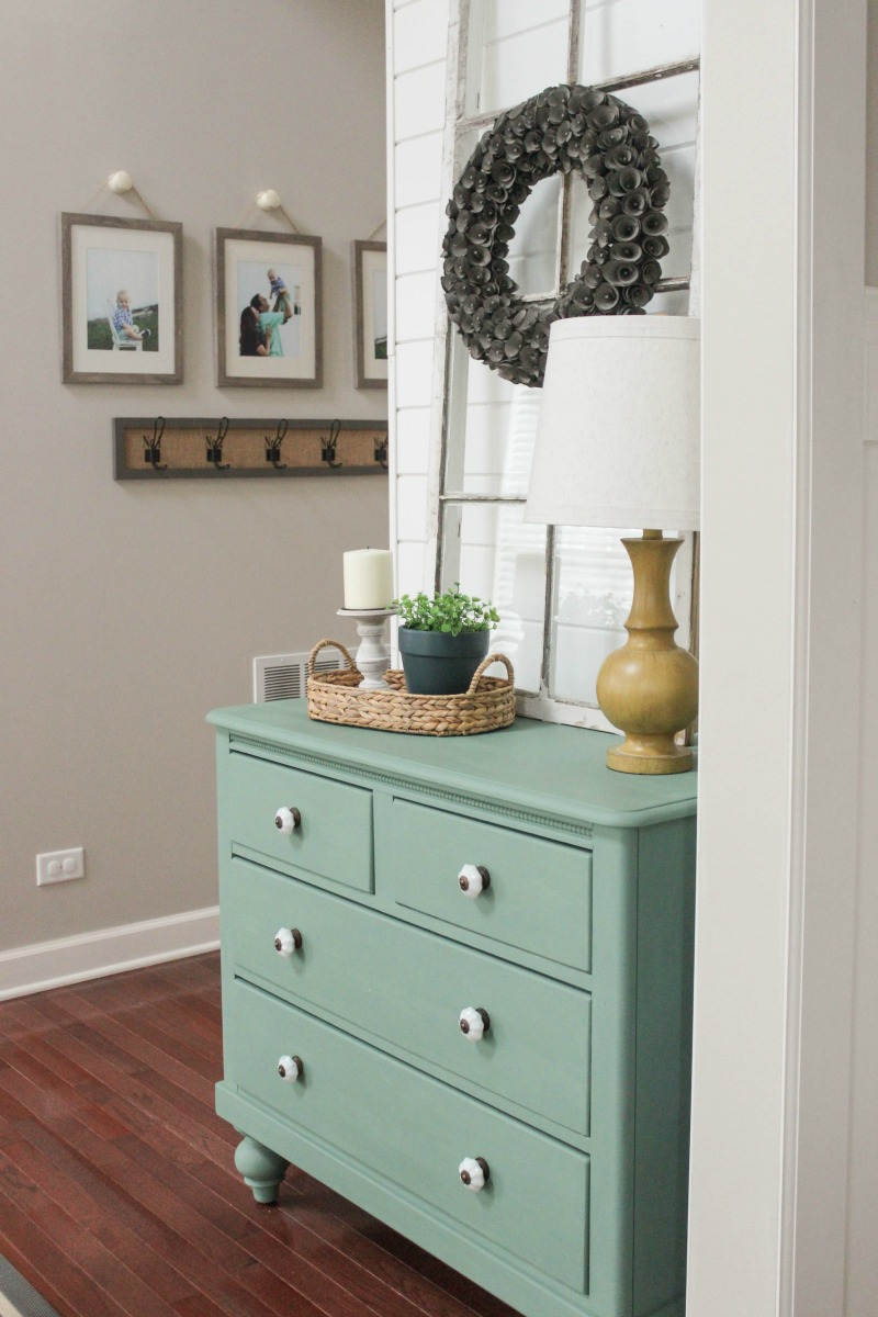 Delightfully Farmhouse Flavored Home Tour - Aqua Painted Dresser Entry Hallway