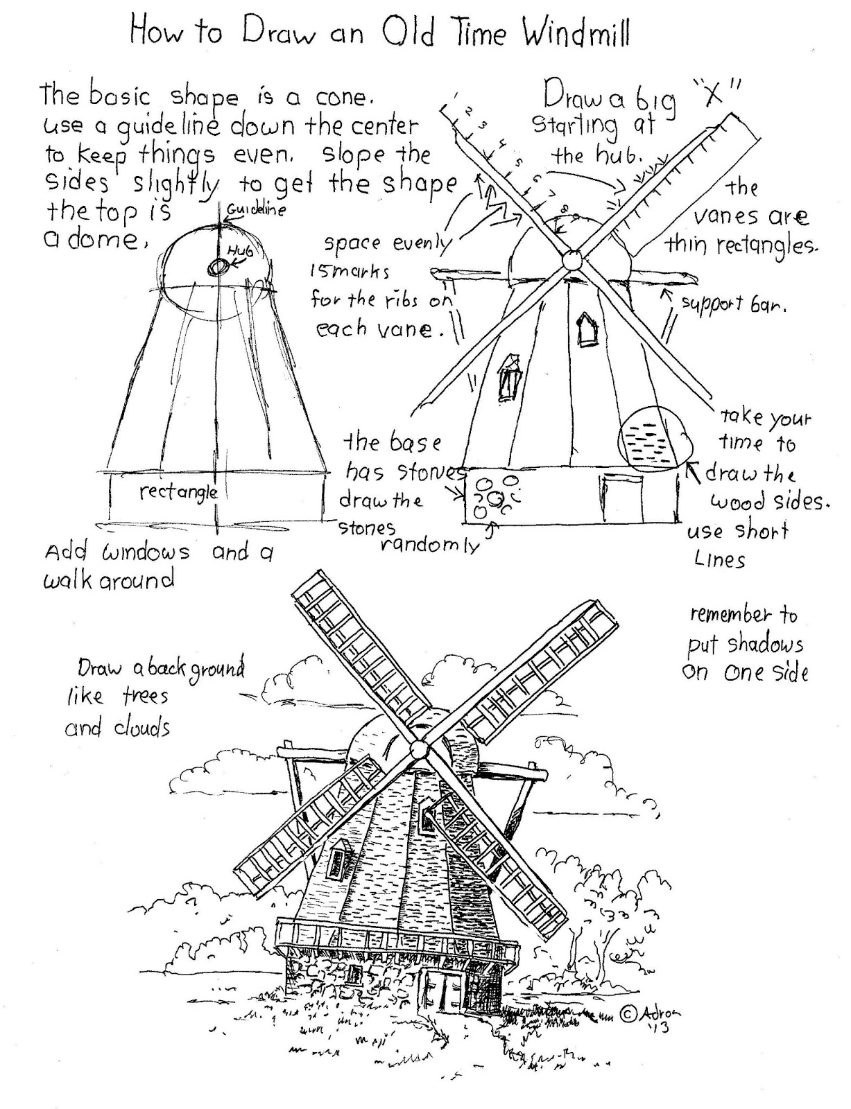 How To Draw Worksheets For The Young Artist How To Draw A Windmill Worksheet