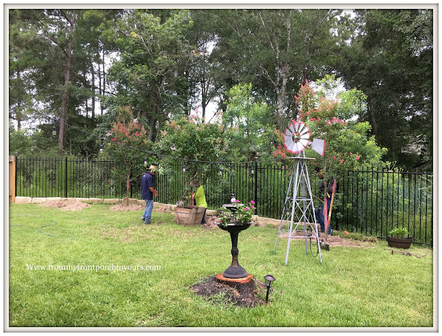 Backyard Landscape-Crape Myrtles-Windmill- White Garden Arbor-From My Front Porch To Yours