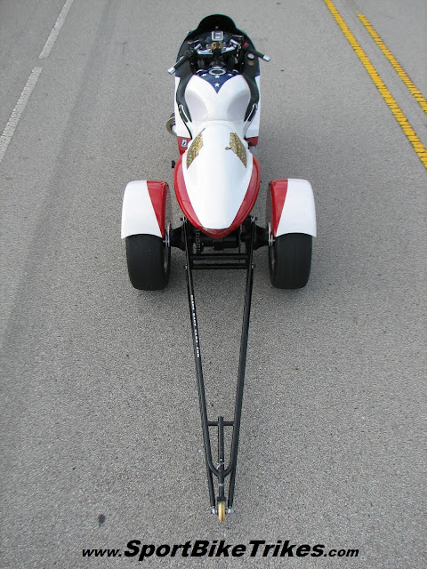 red white and blue custom motorcycle stars and stripes drag trike conversion with wheelie bar