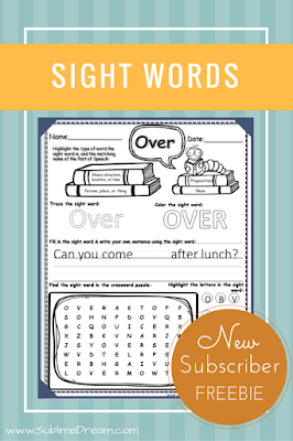 Free sight word worksheets for your 1st grader!