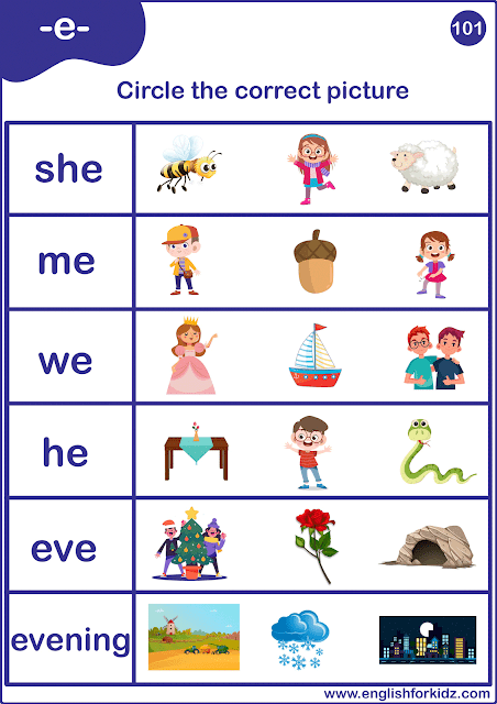 Long E sound word to picture matching worksheet