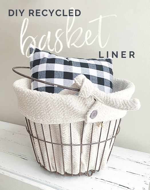 lined basket with buffalo check pillow and Pinterest overlay