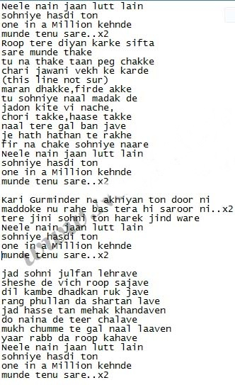 One In a Million - Sukshinder Shinda Lyrics