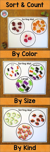 Sort and Count is a fabulous activity for children who need experiences with accurately saying one number word for each object and with cardinality.