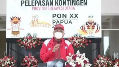 Lepas Keberangkatan Kontingen PON XX Sulut ke Papua, Gubernur Dondokambay Harap Harumkan Nama Sulut di Kanca Nasional