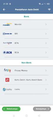 Menu pilihan bank autodebet bpjs mobile jkn