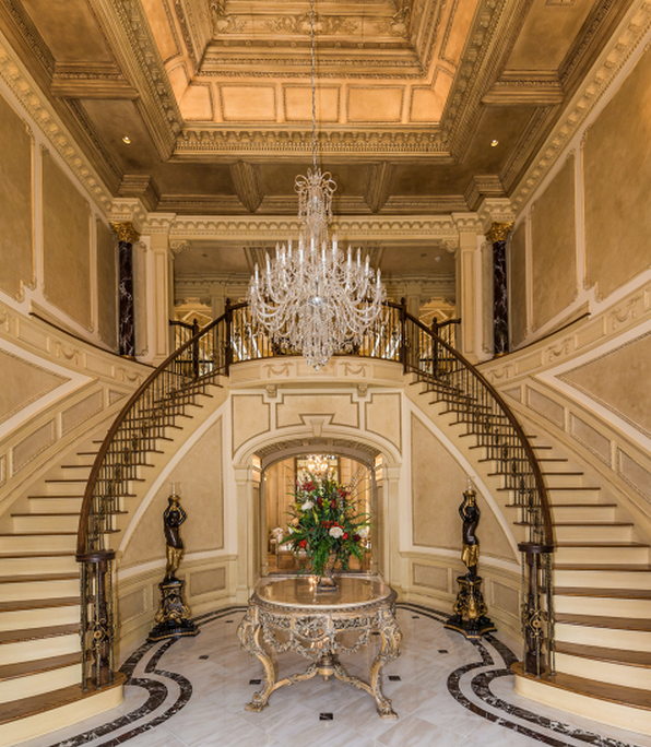 Double Staircase Foyer: Eileen's Home Design: Colonial Mansion In Alpine, NJ For