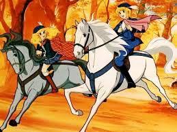 Dibujo de Candy dando un paseo a caballo con Anthony