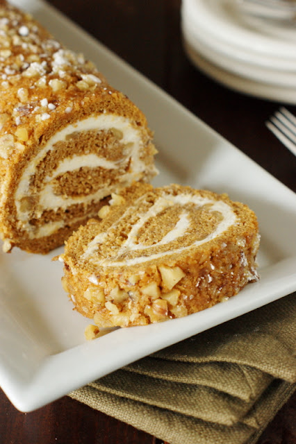 dinner - Classic Pumpkin Cake Roll with Cream Cheese Filling