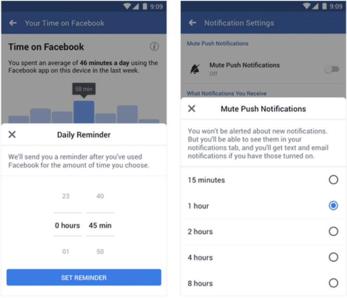 Setting Facebook Activity Dashboards - Mute Push Notifications