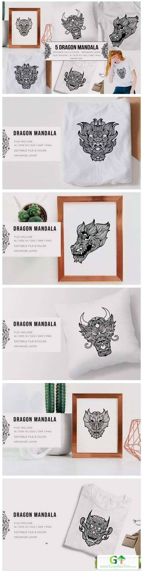 5 Dragon Bundle   Mandala [Vector] [3D And Element Object & Web]