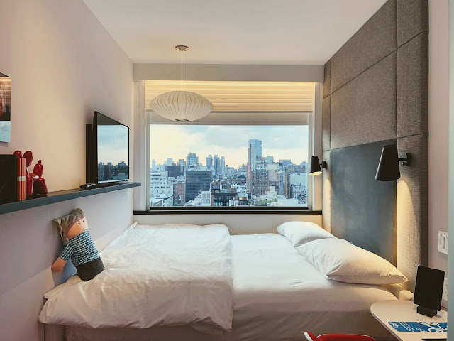 citizenM hotel in Times Square is a boutique hotel in the theatre district of midtown NYC, offering modern accommodations with free Wi-Fi and free movies.