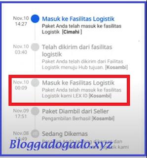 Paket anda masuk ke fasilitas logistik kami lex id artinya Paket sudah berada di gudang  lazada  di kota pengirim. contoh fasilitas logistik kosambi