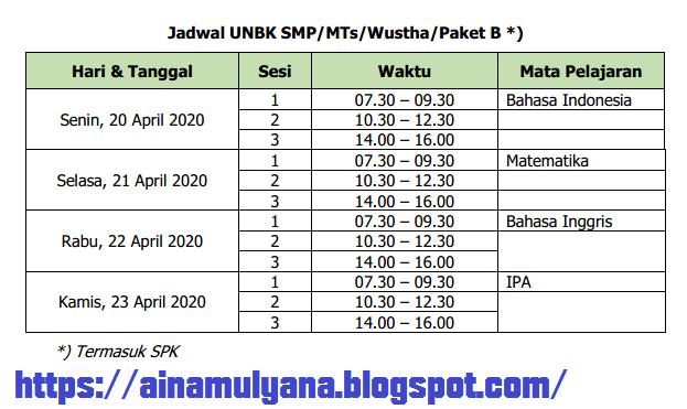 Jadwal UN UNBK SMP / MTS dan Paket B Tahun 2020 (Tahun Pelajaran 2019/2020)