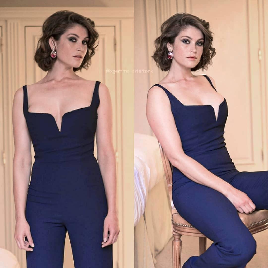 Gemma Arterton Looks Hot in Blue Outfit