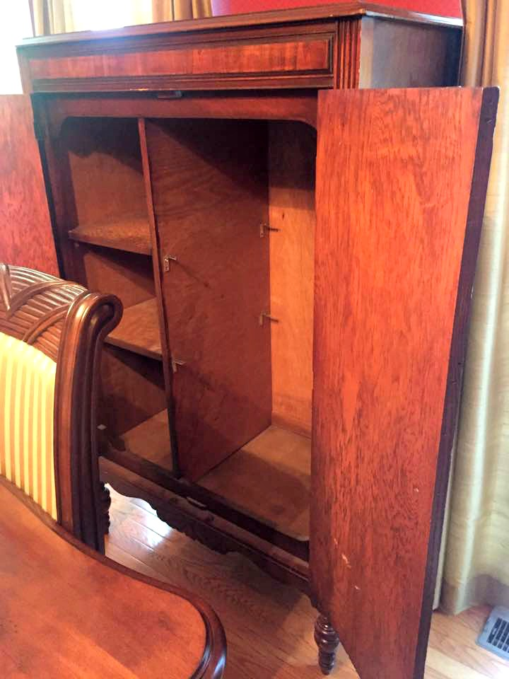 Interior of chifferobe.  Wardrobe side was modified in past to add more shelves.