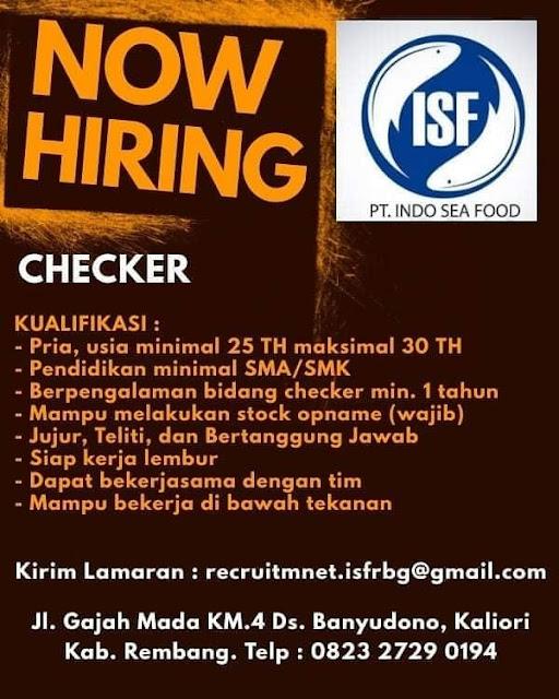 Lowongan Kerja Checker PT. Indo Sea Food Rembang