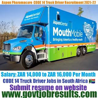 Aspen Pharmacare CODE 14 Truck Driver Recruitment 2021-22