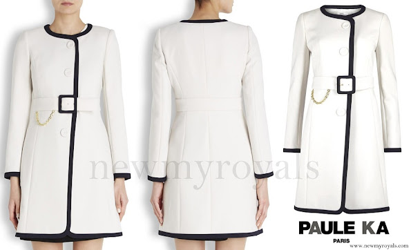Princess Marie wore Paule Ka White Two Tone Belted Coat