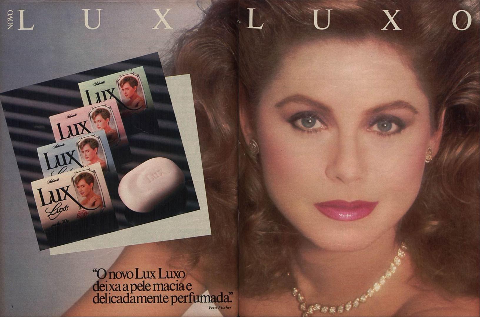 Propaganda antiga do Sabonete Lux Luxo com a atriz Vera Fisher em 1985