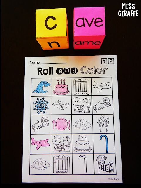 Long vowel silent E games that are such fun printable activities where kids roll, build, and read words to cover their pictures to win!